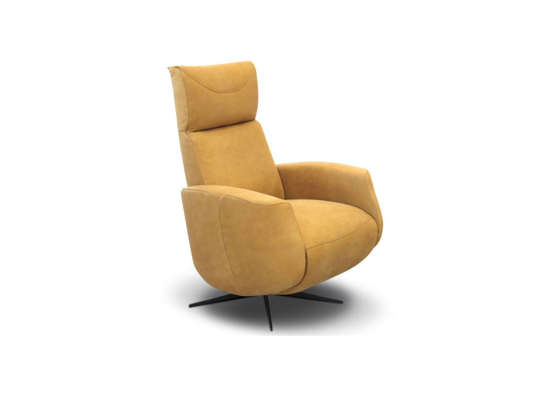 yellow leather power recliner