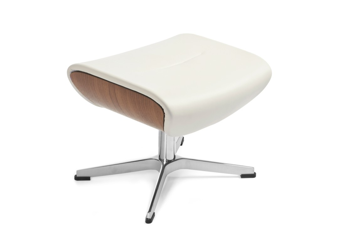 White leather footstool with metal base
