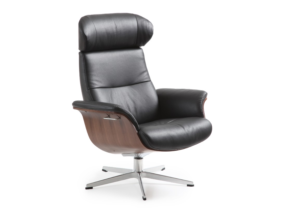 black leather chair with metal base